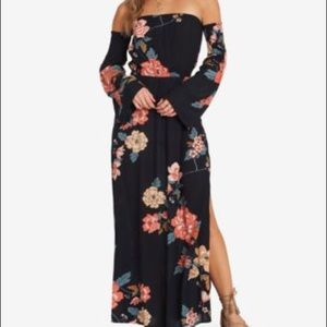 Billabong floral slit leg off shoulder maxi dress